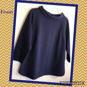 Talbots navy blue back button blouse